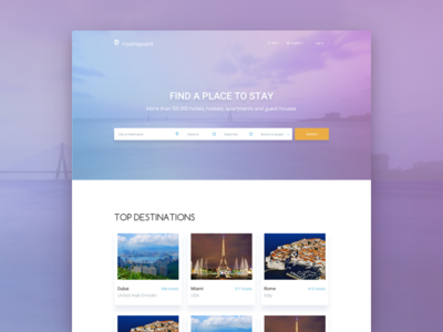 Landing page for Roomspoint color web ux ui hotel room travel landing interface design