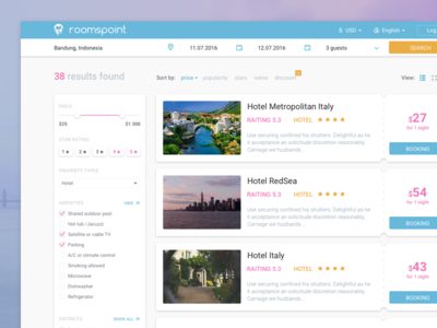 Search screen for Roomspoint web ux ui travel hotel room filter search booking app