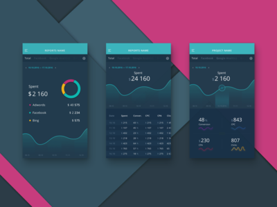 Design concept for analytics app dark ios graph diagram chart app statistic analytic