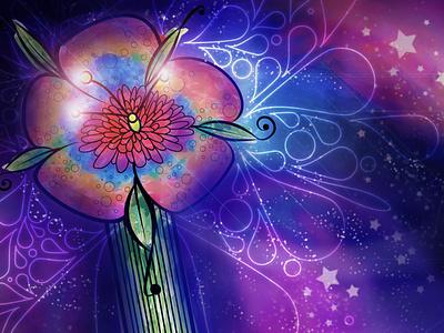 Floral Galaxy illustration design