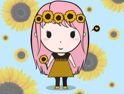 Sunflower Girl minimal vector design illustration