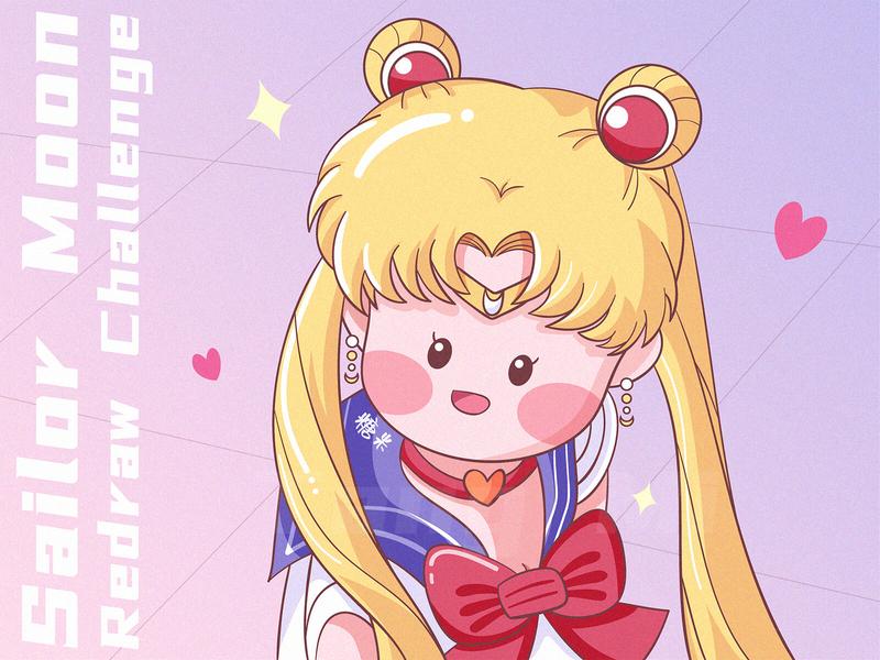Sailor Moon Redraw Challenge redesign redraw vector illustration