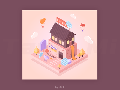 Tammy's Candy House design house vector illustration dream sweetness creat life sweet eat 2.5d candy candy house