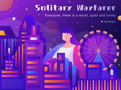 Solitary Wayfarer edifice building ferris wheel world quiet traveler wayfarer city lonely solitary illustration