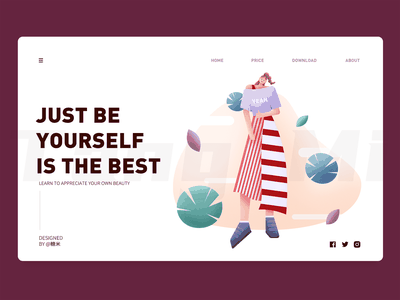 Being yourself is the best girl cool people woman beautiful appreciate brave applauds beauty courage confident be yourself flat vector illustration