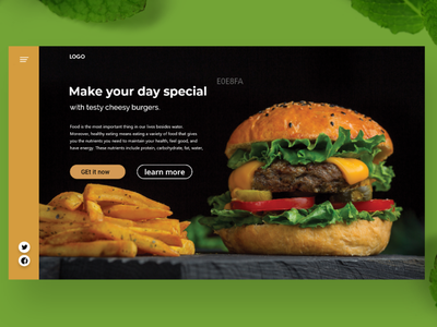 landing page for Fresh Burgers website foodie flat attractive minimalist landing page design creative design minimal ux ui branding typography design