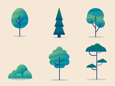 Spring! icon set icon design icon concept minimal adobe illustrator landscape flat vector design illustration