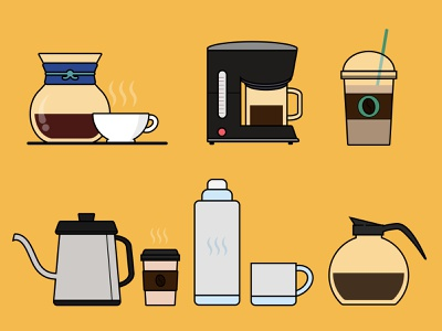 Coffee! icon set icon design icon website minimal vector landscape illustration flat design adobe illustrator