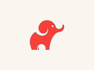 Red Elephant concept elephant logo elephant logo design branding logo illustration vector minimal flat adobe illustrator