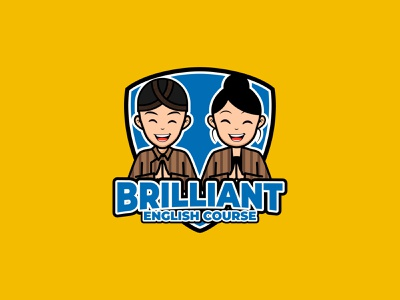 Brilliant English Course logo design concept mascot logo character people mascot illustration branding logo design adobe illustrator
