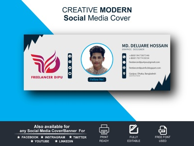 Creative Modern Social Media Cover / Banner Design facebook cover banner design facebook banner facebook cover design facebook cover social media cover social media design socialmedia ui graphic design freelancerdipu design branding brand identity brand