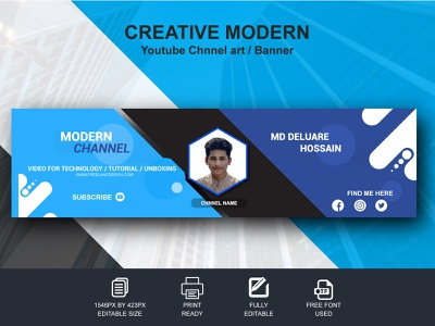 Creative Modern YouTube Channel Cover / Banner Design. brand logo design brand logo graphic design freelancerdipu design branding brand identity brand cover art cover design banner design chnnel art