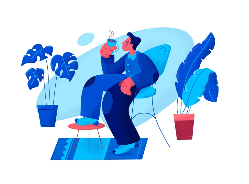 Rainy Day house man cup computer design palm houseplants weekend pajamas stayhome coffee vector home drink nature illustration