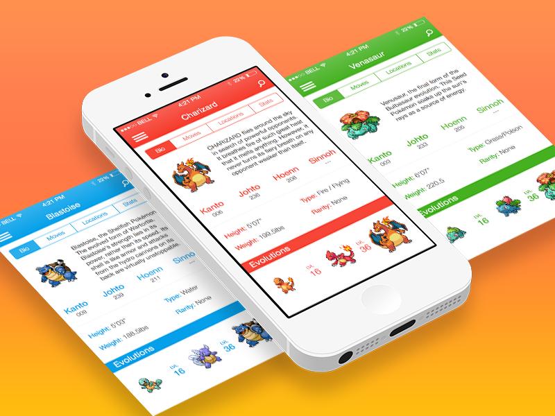 Pokédex App ios7 ios apple iphone app interface clean flat minimal ui pokedex pokemon