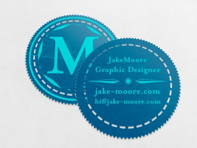 Business Card blue teal stamp die cut business card screen printing