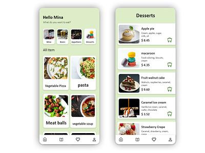 Restaurant menu،نمونه طراحی منو رستوران app web ux ui