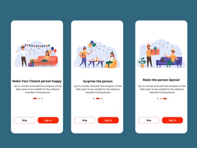 Onboarding Screen for an app of birthday accessories illustration branding logo animation 3d landing page app design motion graphics ux ui
