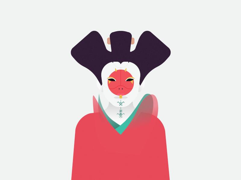 Amazigh Geisha Robot - Ghost In Shell gradient manga japan agadir morocco ghost in shell geisha marrakech amazigh