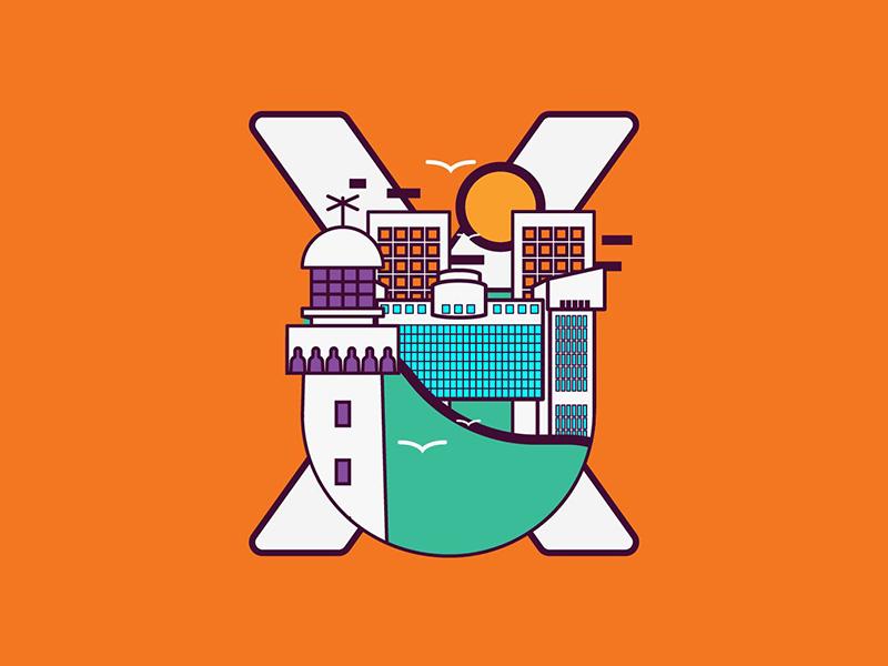 XU - Artwork for X-HUB Casablanca lighthouse morocco summer illustration tech casablanca