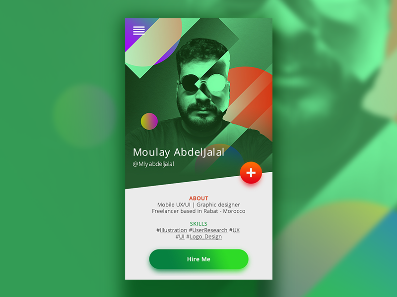 Dribbble jobs bio card - UI/UX Concept spotify military green color duotone illustration card about bio ux ui