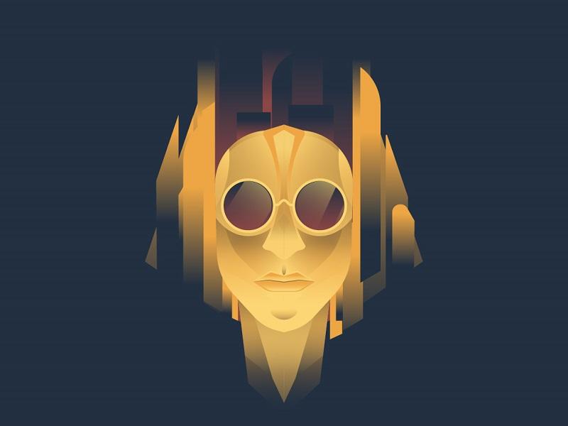 Steampunk pharaon pharaon egypt illustration robot machine gold gradient steampunk mythology