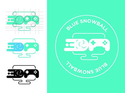 Blue Snowball. emblem logo screen snow indie games game branding identity logo blue green snowball