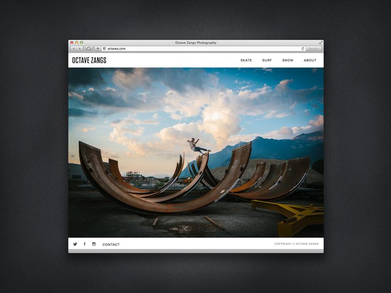 Octave Zangs Photography photography responsive portfolio skateboarding snowboarding surf