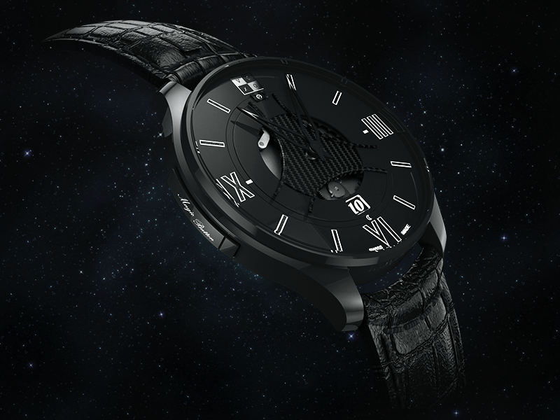 VCXO Watch Render watch c4d vray swiss made black render 3d leather ceramique
