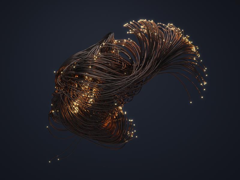 Fiber Optics cable wires x-particles fiber optic abstract 3d octane cinema 4d c4d