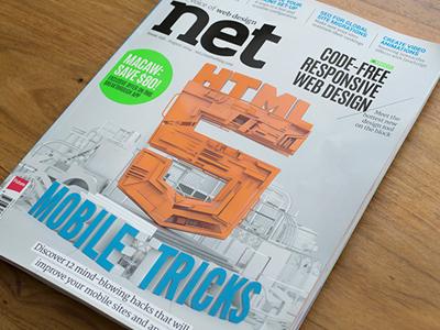 net Magazine - 3D Cover Design - printed final net magazine cover illustration render cgi editorial web html5 mobile artwork digital