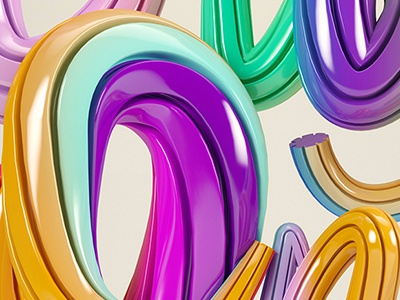 Good Vibes Only - 3D Typography illustrative type 3d render c4d vray typography quote glossy colour fun rainbow