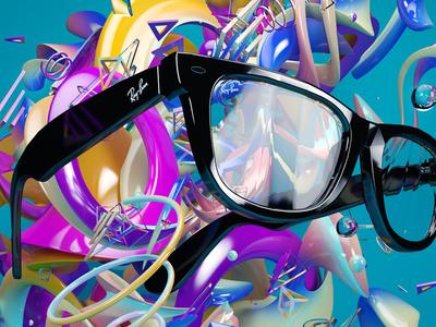 Ray Ban - Never Hide Close Up ray ban glasses ad digital artwork 3d render cgi abstract colour cinema 4d shapes