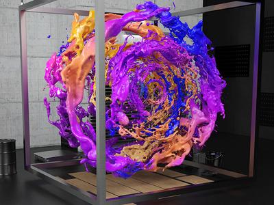 Liquid Sound Sculpture - Close up 3 3d liquid sculpture render paint splash vibrant colour c4d explosion cg environment