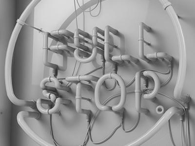 Full Stop Neon Sign Model type design cinema 4d render clay 3d sign neon