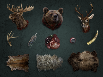 Some gory icons gore intestines hunting animal brutal game icon realistic blood trophy