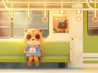 Aggrestuko going home digitalart octane red panda warm colors character commute train sunset illustration chibi cinema4d cute lowpoly 3d art fanart aggretsuko