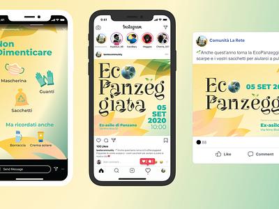 EcoPanzeggiata - Applications social media design logo instagram stories instagram post facebook ads event branding ecology eco design branding