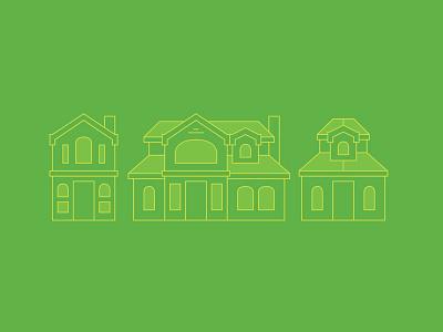 House Illustrations clean design green illustration line