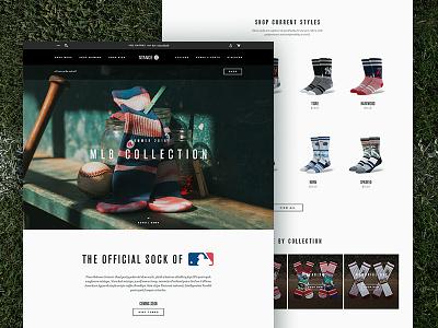 The Official Sock of MLB mlb baseball web stance socks layout landing page fashion ecommerce design