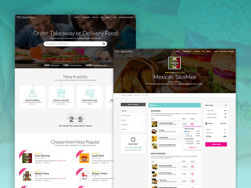 QuickFood - Delivery or Takeaway Food Template delivery food fast food order food pizza restaurants takeaway takeaway food themeforest