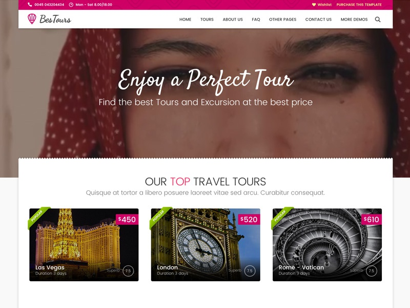BESTOURS - Tours, Excursions and Travel multipurpose template row listing grid listing reservation video header web design ux ui form travel tourism booking tour