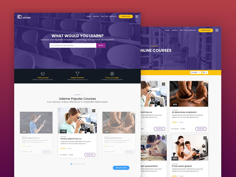 UDEMA - Modern Educational Site Template university udemy teaching school lms learning management system learning educational courses college campus academy