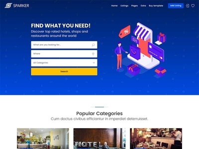 Sparker - Directory and Listings Template airbnb reviews listings tripadvisor restaurants hotel directory booking travel themeforest