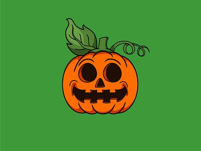 Pumpkin vector illustration icon orange green pumpkin halloween