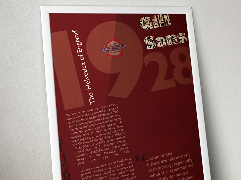 Typography Poster roaring 20s underground london typography gill sans