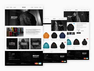 Outcast Street Wear Co. eshop redesign fashion ecommerce online store design web ui ux