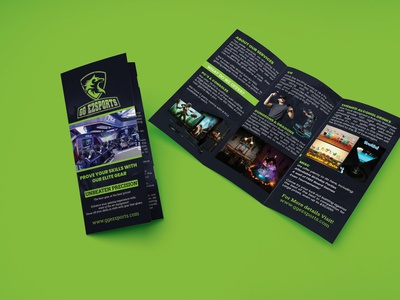 Trifold Brochure Design For Esports Gaming Center tri-fold brochure elite gear computer prodduct high end gaming pcs and barlounge