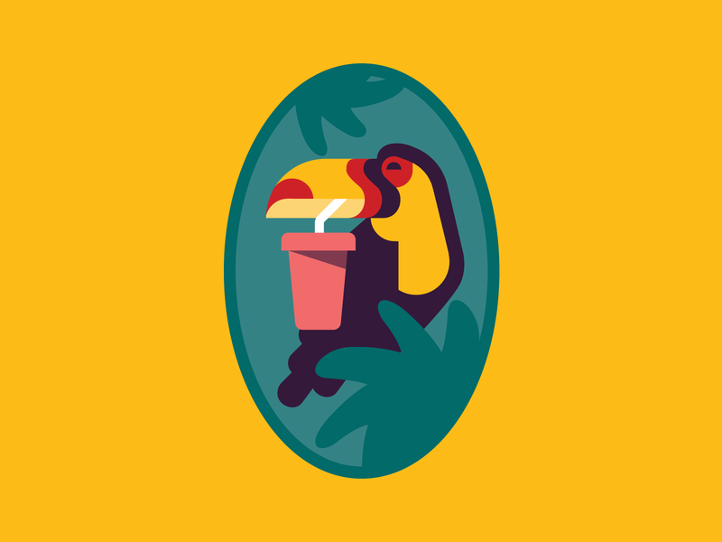 BJ's toucan sticker label juice label illustration