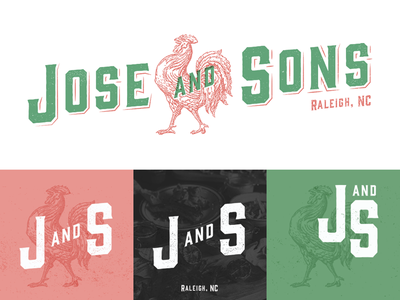 Jose and Sons branding logo rooster mexican restaurant mark tequilar bar raleigh north carolina