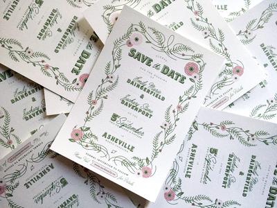 A North Carolina Wedding save the date wedding invitation floral asheville north carolina